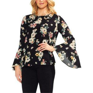 Vince Camuto Bell Sleeve Blouse Black Floral L